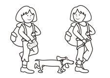 Muchachas y perro - libro de colorear Foto de archivo libre de regalías