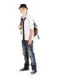Muchacho adolescente con el morral Fotografía de archivo libre de regalías