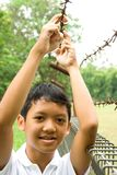 Muchacho adolescente con la cara granuda Foto de archivo