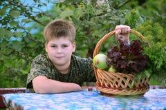 Muchacho adolescente con la cesta de verduras frescas en el jardín Imagen de archivo libre de regalías