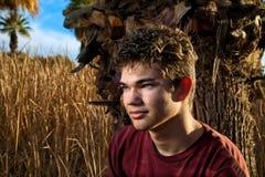 Muchacho adolescente del retrato en marrón Fotografía de archivo