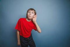 Muchacho, adolescente, doce años, en una camisa roja Foto de archivo