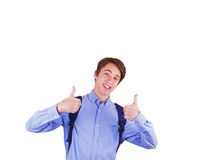 Muchacho adolescente en camisa azul Imagen de archivo