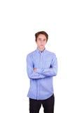 Muchacho adolescente en camisa azul Foto de archivo libre de regalías