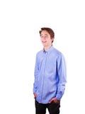 Muchacho adolescente en camisa azul Imagenes de archivo