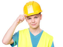 Muchacho adolescente en casco Imagen de archivo