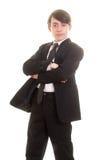 Muchacho adolescente en traje con actitud seria Imágenes de archivo libres de regalías