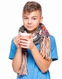 Muchacho adolescente enfermo con gripe Foto de archivo libre de regalías