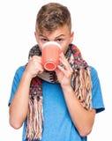 Muchacho adolescente enfermo con gripe Imagen de archivo
