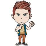 El carácter adolescente masculino - sostenga el puño para arriba en el aire Imágenes de archivo libres de regalías