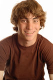 Muchacho adolescente feliz con las paréntesis Imagen de archivo