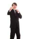 Muchacho adolescente feliz que presenta como combatiente Fotografía de archivo