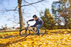 Muchacho adolescente que monta su bici de la suciedad a través de follaje del otoño Imagen de archivo libre de regalías