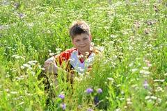 Muchacho adolescente que se sienta entre las flores del prado Fotografía de archivo