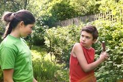 Muchacho adolescente y muchacha de los pares de los hermanos que pelean Imágenes de archivo libres de regalías