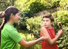 Muchacho adolescente y muchacha de los pares de los hermanos que pelean Foto de archivo
