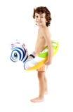 Muchacho adorable con un flotador Imagenes de archivo