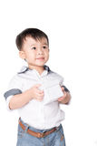 Muchacho adorable con un regalo Fotos de archivo