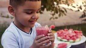 Muchacho adorable del niño que bebe el smoothie sano del jugo de las frutas y verduras en verano Jugo rubio de la sandía de la pr fotos de archivo