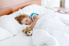 Muchacho adorable del niño que duerme y que sueña en su cama blanca con el juguete Imagenes de archivo