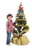 Muchacho adorable en la Navidad Foto de archivo