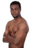 Muchacho africano joven en actitud defensiva imagenes de archivo