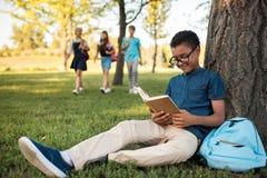 Muchacho afroamericano que estudia en parque Fotos de archivo libres de regalías