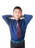 Muchacho asiático con la corbata, aislada en el fondo blanco Fotografía de archivo