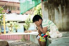 Muchacho asiático que llora solamente Fotografía de archivo libre de regalías