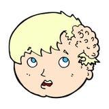 muchacho cómico de la historieta con crecimiento feo en la cabeza Foto de archivo