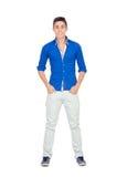 Muchacho casual con la camisa azul Imagen de archivo