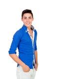 Muchacho casual con la camisa azul Imágenes de archivo libres de regalías