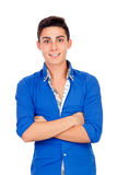 Muchacho casual con la camisa azul Fotos de archivo