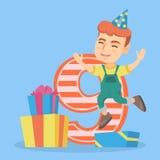 Muchacho caucásico que celebra el noveno cumpleaños libre illustration