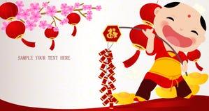 Muchacho chino del Año Nuevo stock de ilustración