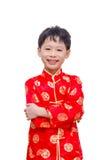 Muchacho chino que sonríe sobre blanco Foto de archivo libre de regalías