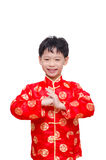 Muchacho chino que sonríe sobre blanco Imagen de archivo