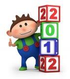 Muchacho con 2012 bloques del número stock de ilustración