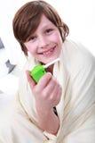 Muchacho con asma Fotografía de archivo