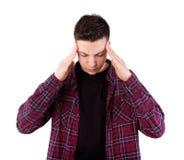 Muchacho con dolor de cabeza Fotos de archivo libres de regalías