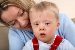Muchacho con Down Syndrome Foto de archivo libre de regalías