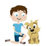 Muchacho con el amigo del perro Imagen de archivo libre de regalías