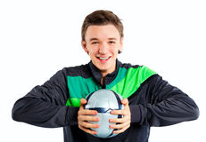 Muchacho con el balón de fútbol imagen de archivo libre de regalías