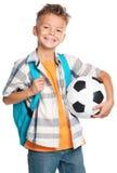 Muchacho con el balón de fútbol Fotos de archivo libres de regalías
