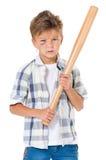 Muchacho con el bate de béisbol Fotografía de archivo libre de regalías
