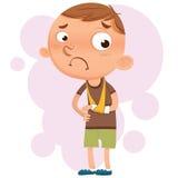 Muchacho con el brazo quebrado stock de ilustración