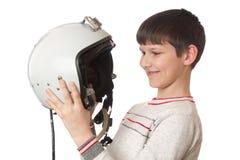 Muchacho con el casco Imágenes de archivo libres de regalías