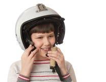 Muchacho con el casco Fotos de archivo