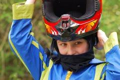 Muchacho con el casco Imagen de archivo libre de regalías