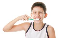 Muchacho con el cepillo de dientes Fotografía de archivo libre de regalías